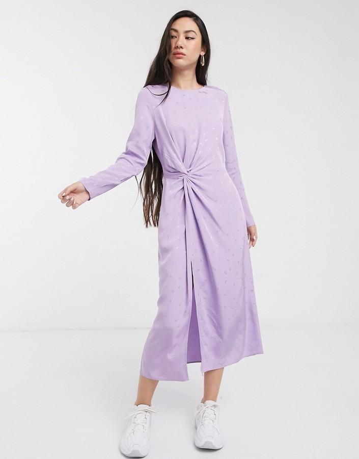 & Other Stories leaf print midi dress in lilac jacquard