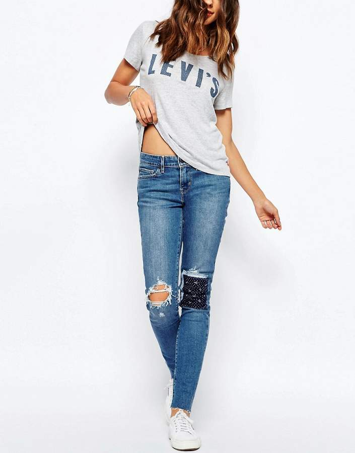 Levi's 711 Skinny Jeans With Bandana Patch Knee