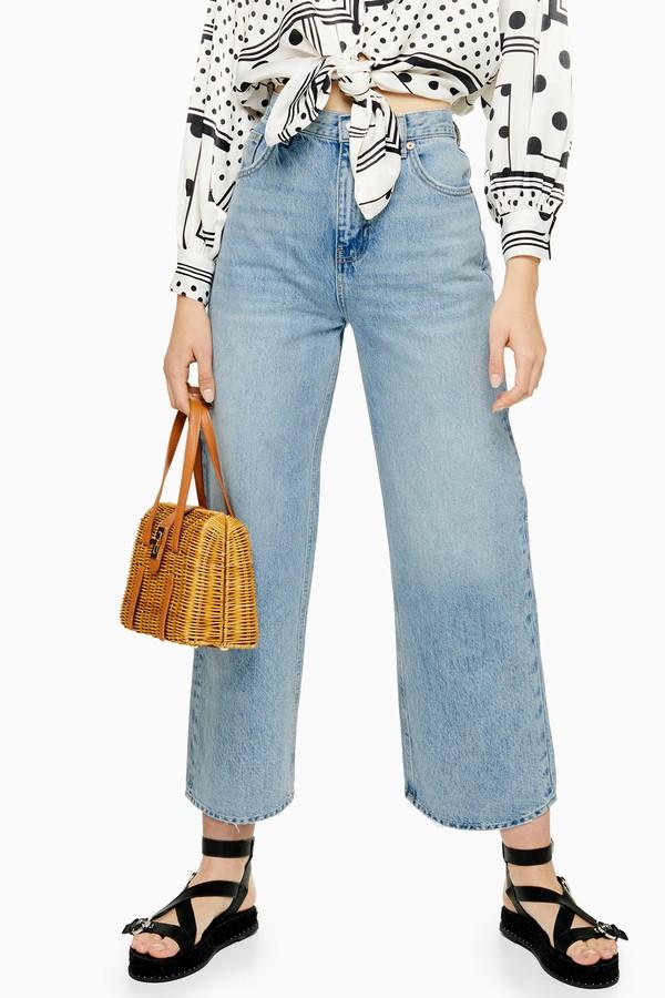 Topshop Womens Bleach New Crop Jeans - Bleach Stone