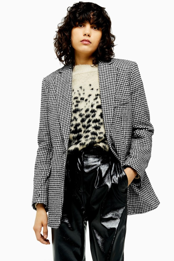 Womens Houndstooth Single Breasted Blazer - Monochrome