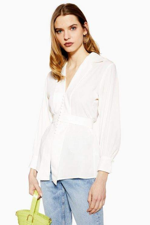 Topshop Womens Plunge Blouse - Ivory