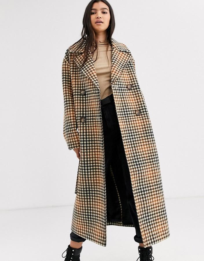 ASOS DESIGN belted coat in check