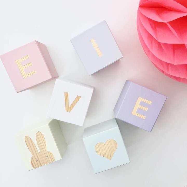 Myla & Oscar Personalised Baby Name Blocks: Pastel Mix