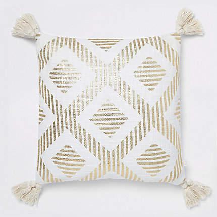 River Island Gold print cushion with tassels