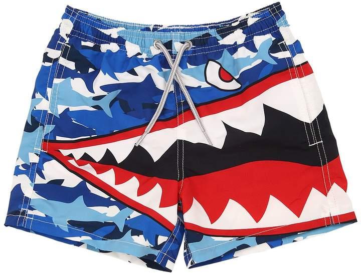 Mc2 Saint Barth Shark Print Nylon Swim Shorts