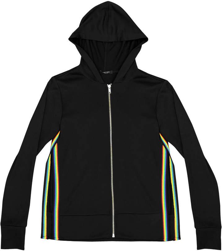Terez Zip-Up Hooded Jacket w/ Rainbow Tape Trim, Size 7-16