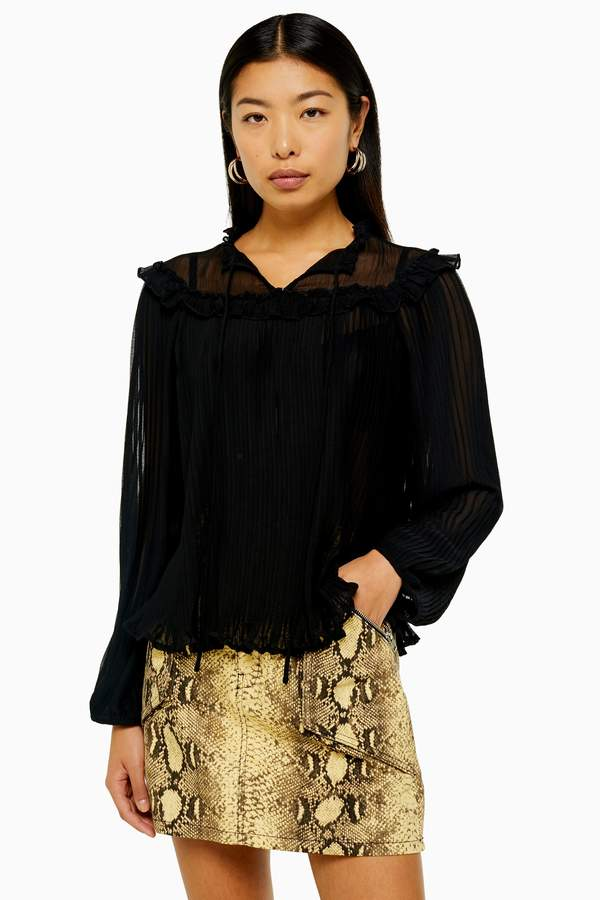 Topshop Womens Ruffle Pleated Smock Top - Black