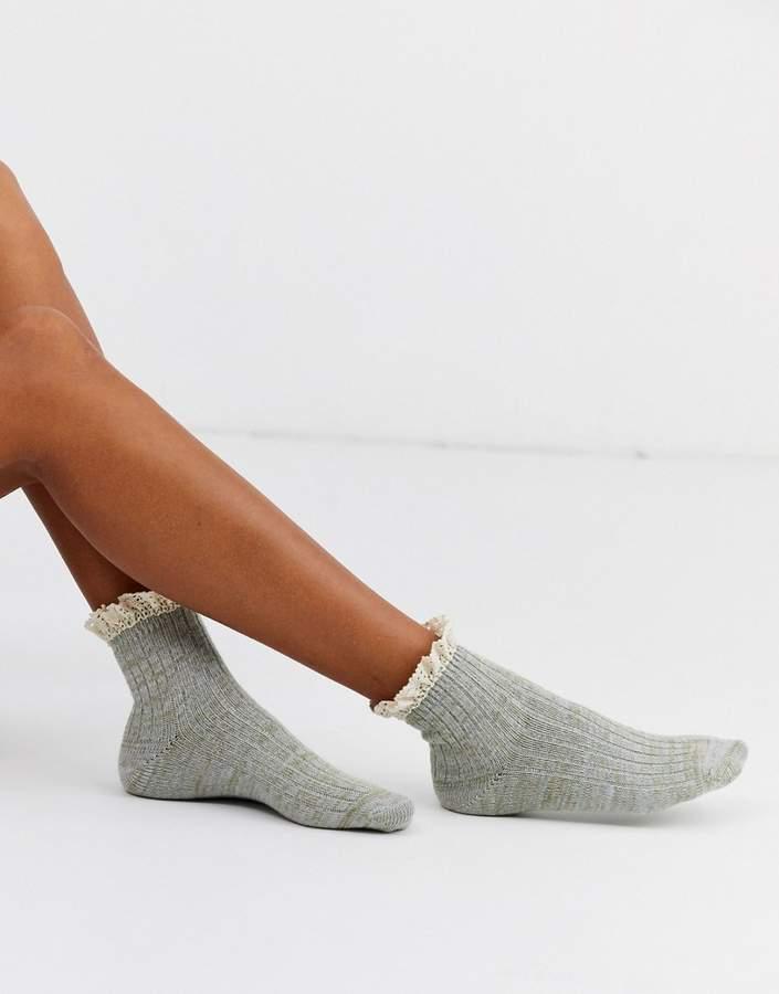 Free People escapade space dye ruffle socks-Grey