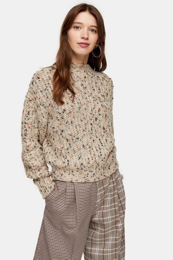 Womens Knitted Textured Neppy Pointelle Jumper - Natural