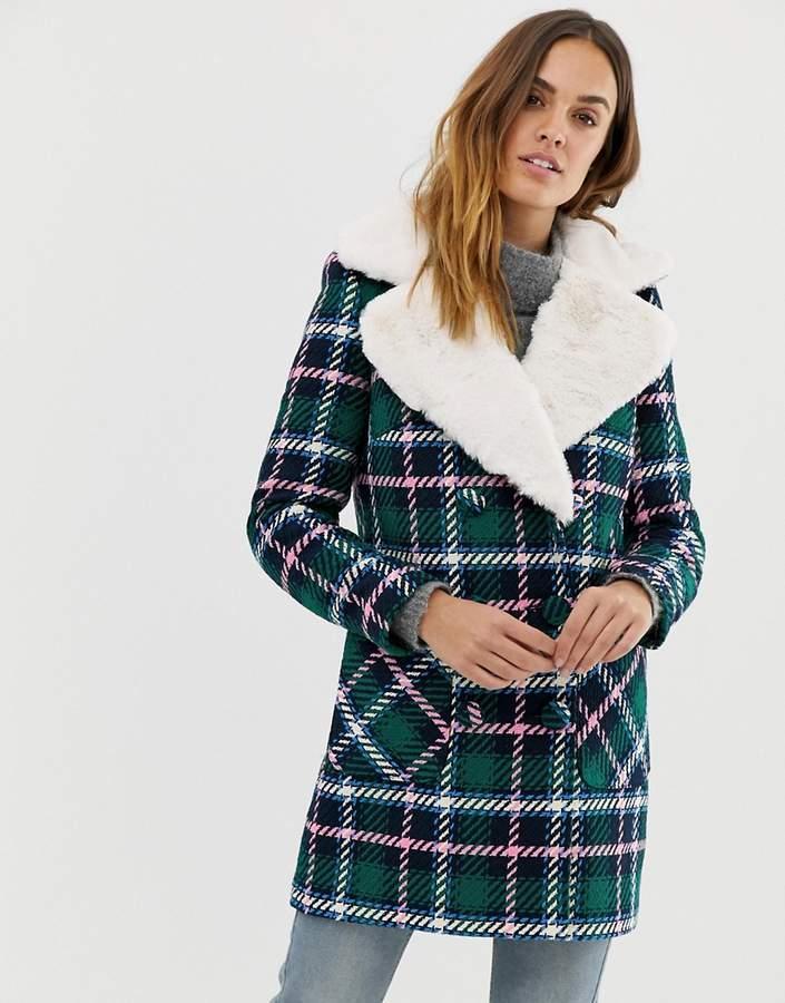 Naf Naf check coat with faux fur collar