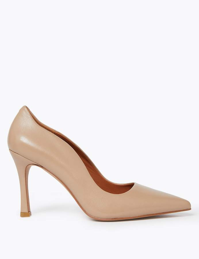 AutographMarks and Spencer Leather Stiletto Pointed Toe Court Shoes