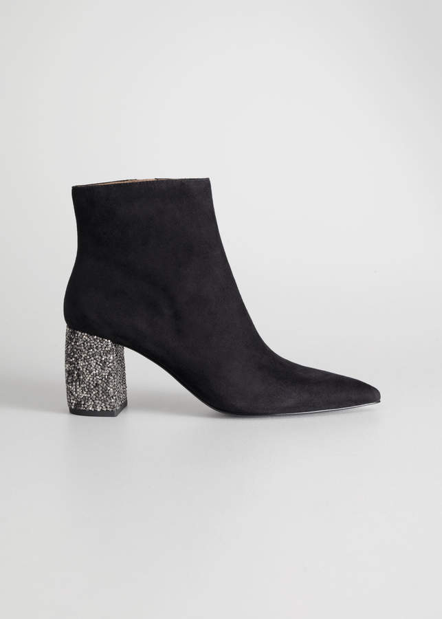 And other stories Rhinestone Heel Suede Ankle Boots