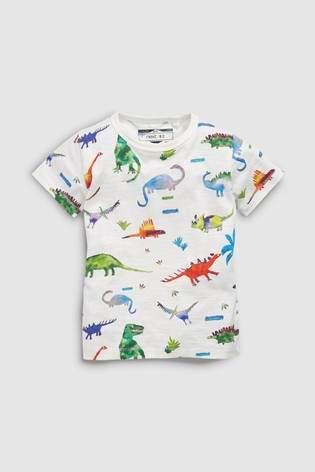 Boys Next White Short Sleeve Dinosaur T-Shirt (3mths-7yrs)