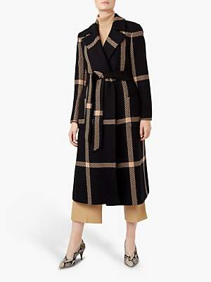 Hobbs Florina Check Coat, Black/Camel