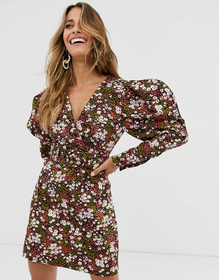 & Other Stories extra puff sleeves mini dress in floral print