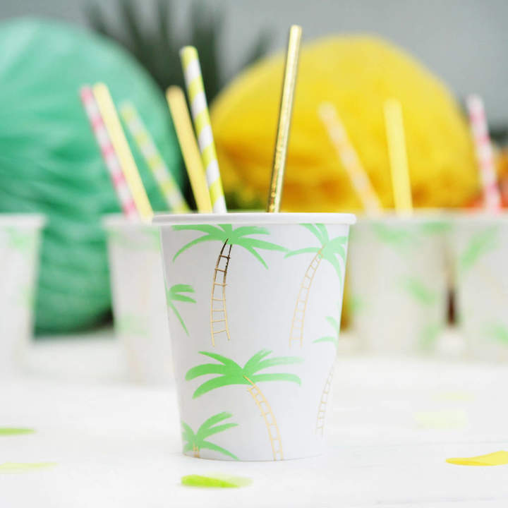 Postbox Party Neon And Gold Palm Tree Pattern Party Cups