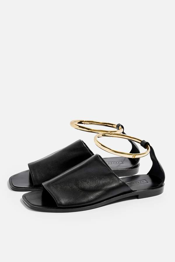 Topshop Womens Flora Black Anklet Sandals - Black