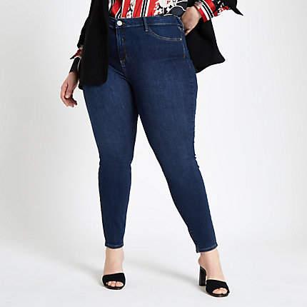 River Island Womens Plus dark Blue Molly super skinny jeggings