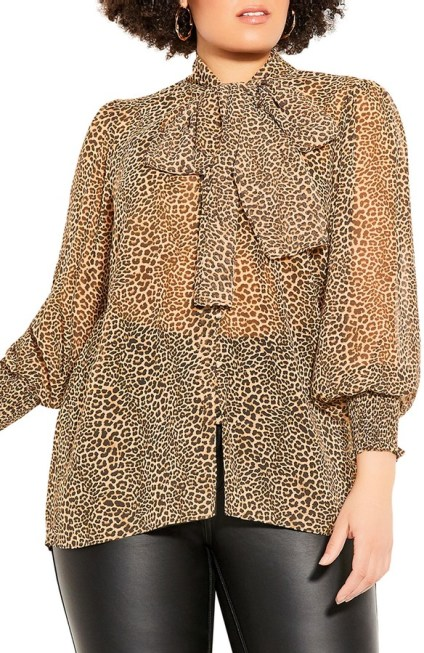 City Chic - leopard print bowtie blouse   hot Fall 2020 fashion