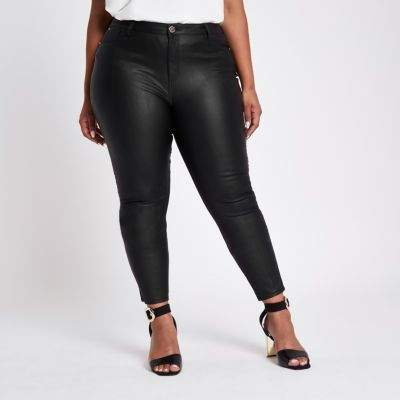 Plus black Molly coated skinny jeans