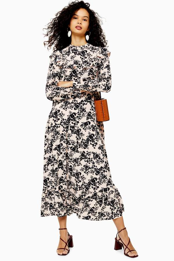 Topshop Womens Floral Print Pintuck Ruffle Maxi Dress - Blush