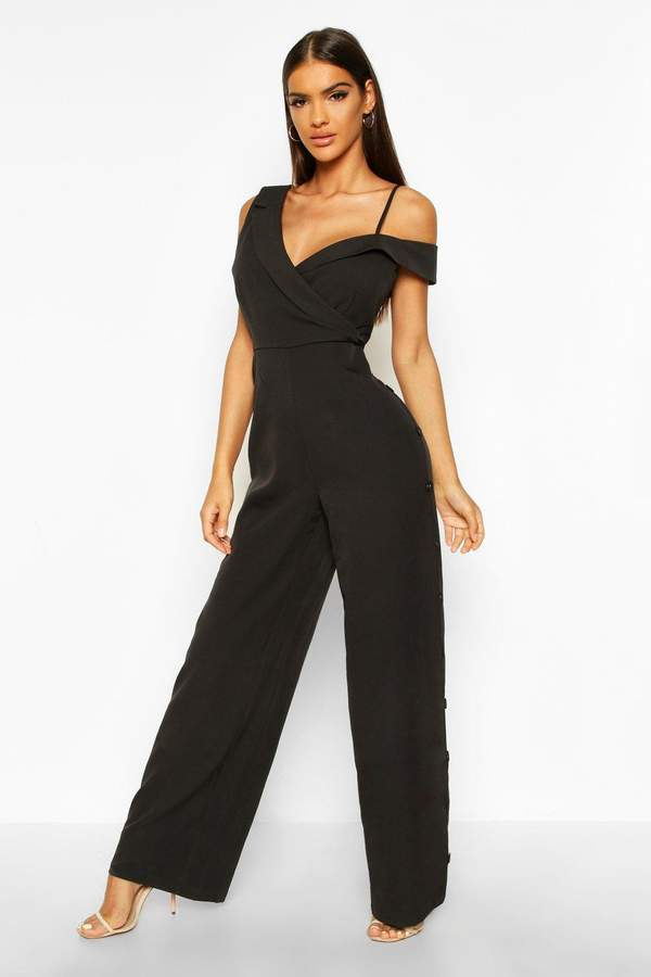 Tailored Asymmetric Sleeveless Button Detail Jumpsuit