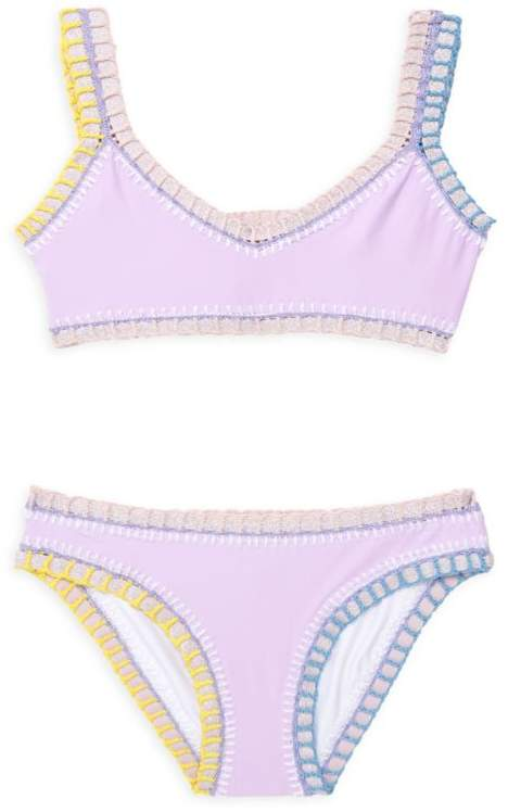 Pilyq Little Girl's & Girl's Two-Piece Embroidered Sporty Rainbow Bikini