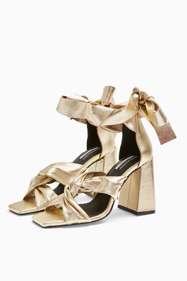 Topshop REVOLVE Leather Gold High Sandals