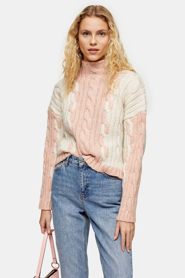 Topshop Womens Knitted Colour Block Plait Jumper - Pink