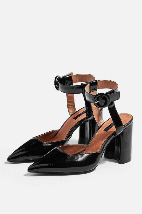 Topshop Womens Graceful Ankle Strap Heels - Black
