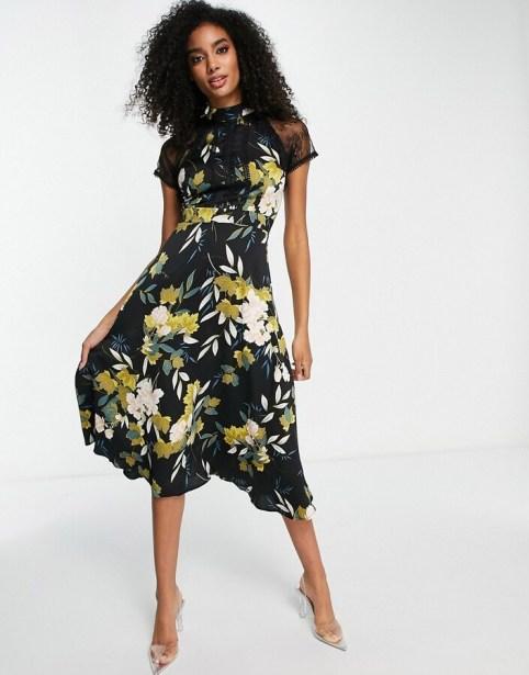 Liquorish - floral calf length floral dress