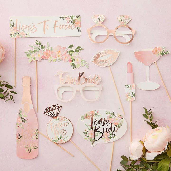 Ginger Ray Rose Gold Floral Hen Party Photo Booth Props