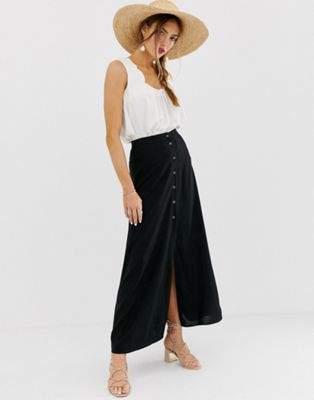 Asos Design ASOS DESIGN button front maxi skirt-Black