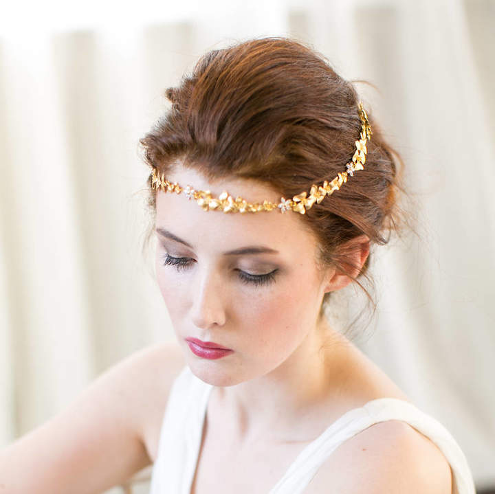 Victoria Millesime Gold Orchid Bridal Forehead Band