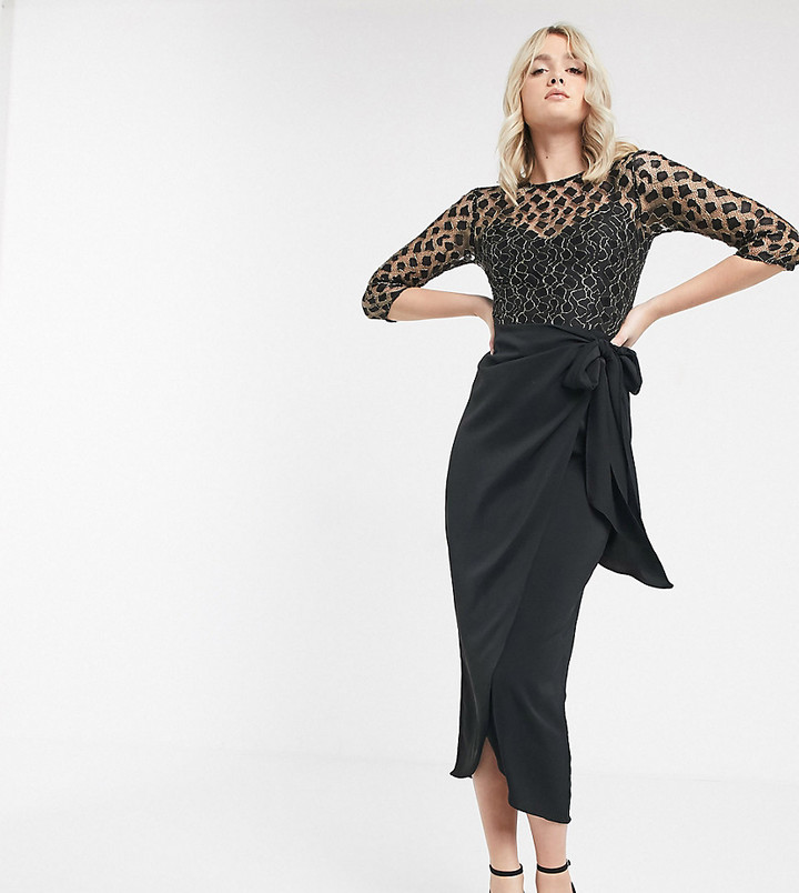 Little Mistress Tall wrap midi dress with tie front in black lace
