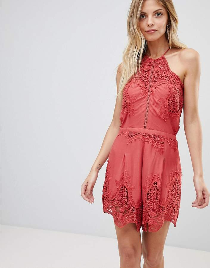 The Jetset Diaries Vierna Lace Halterneck Playsuit