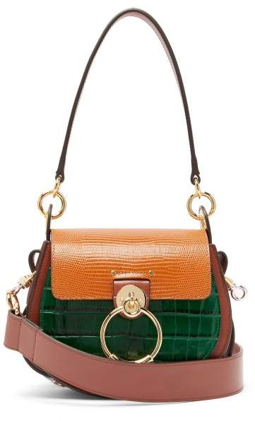 Chloé Chloe - Tess Small Lizard-effect Leather Cross-body Bag - Womens - Tan Multi
