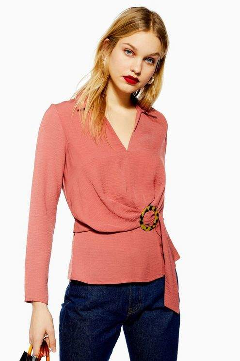 Topshop Womens Horn Buckle Collar Blouse