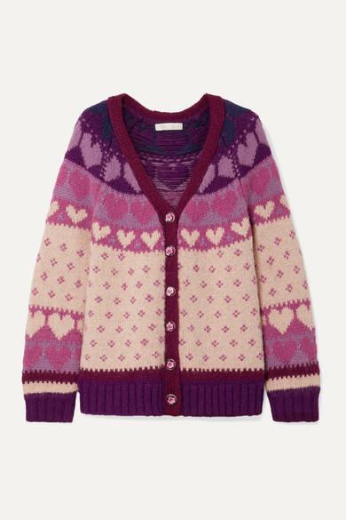 Loveshackfancy LoveShackFancy - Deena Intarsia-knit Cardigan - Blush