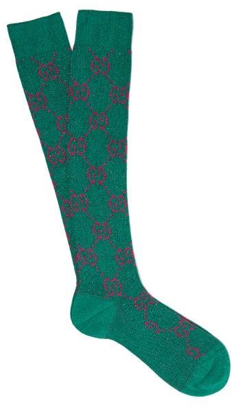 Gucci - Gg-intarsia Metallic Cotton-blend Socks - Womens - Green Multi
