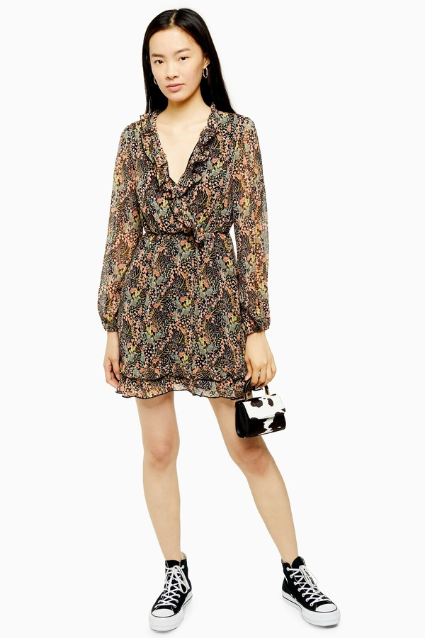 Womens Ruffle Forest Print Mini Dress - Multi