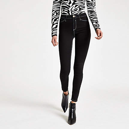 Womens Black Molly contrast mid rise jeggings