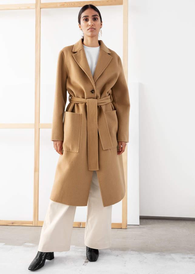 Wool Blend Belted Long Coat