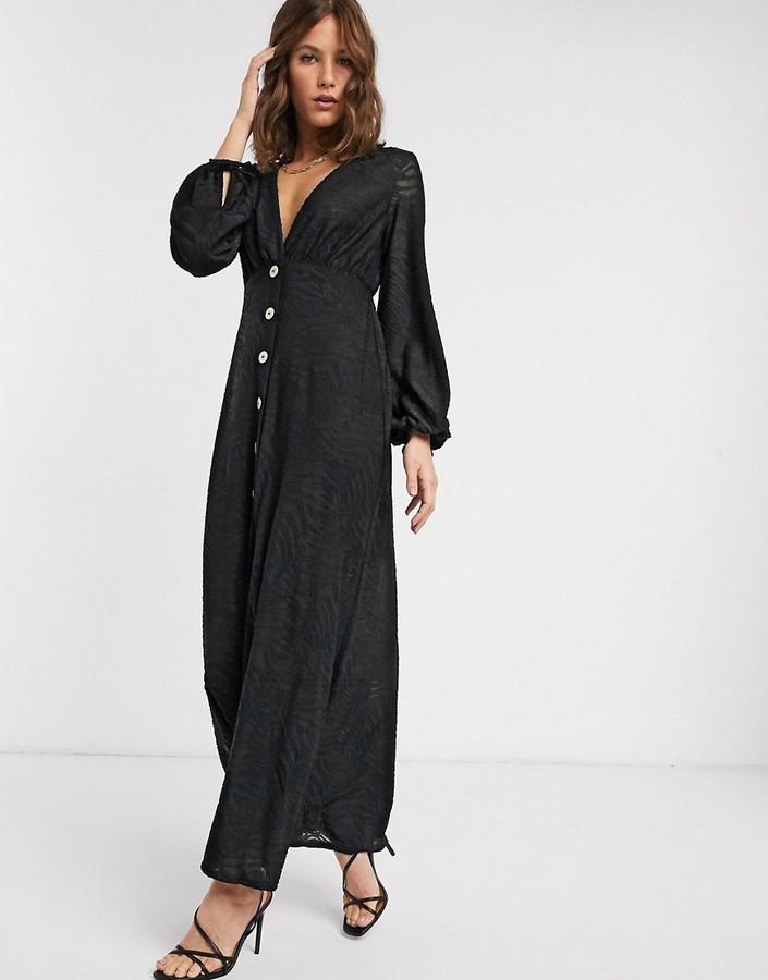 Asos Design ASOS DESIGN Zebra Burnout Long Sleeve Maxi Dress