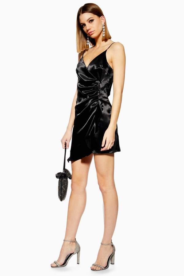 Mini Ruffle Satin Slip Dress