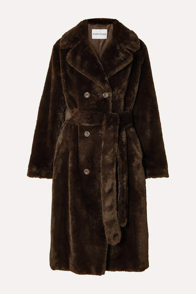 Stand Studio - Faustine Oversized Belted Double-breasted Faux Fur Coat - Brown