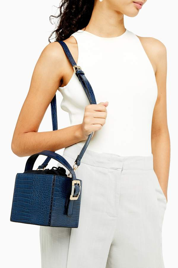 Topshop Womens Gracie Blue Crocodile Box Bag - Blue