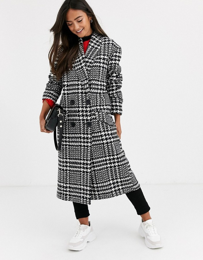 Asos Design ASOS DESIGN houndstooth oversized coat-Multi