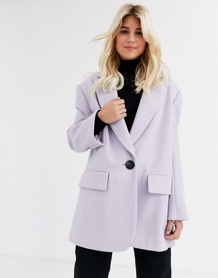Asos Design ASOS DESIGN grandad coat in lilac