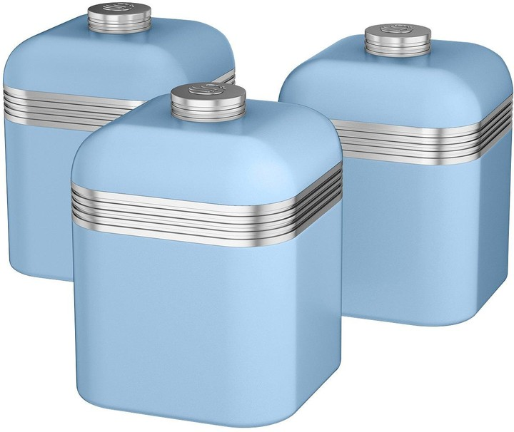 Swan Retro Set Of 3 Storage Canisters - Sky Blue